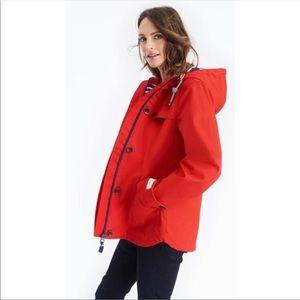 Joules Red Coastal Hooded Waterproof Jacket NWT 16